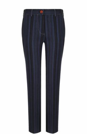 Шерстяные брюки прямого кроя в полоску Acne Studios. Цвет: синий