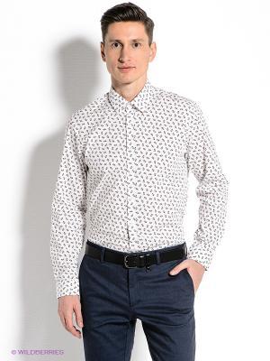 Рубашка MONDIGO. Цвет: белый, синий, красный