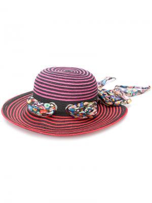 Солнцезащитная шляпа в полоску с лентой Missoni. Цвет: розовый и фиолетовый
