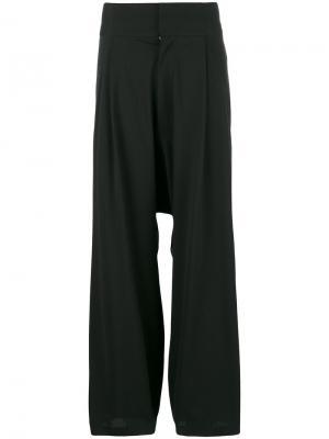 Свободные брюки с заниженной проймой Y-3. Цвет: чёрный