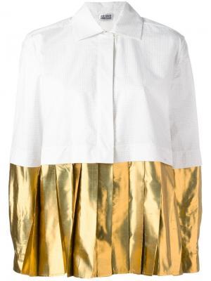 Рубашка с эффектом металлик на плиссированном подоле Arthur Arbesser. Цвет: белый
