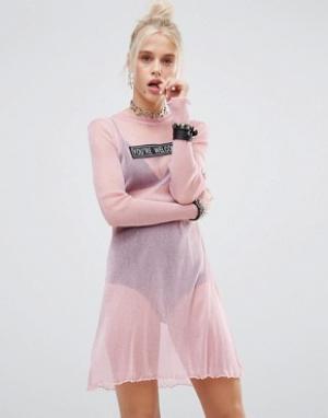 The Ragged Priest Сетчатое платье с блестками. Цвет: розовый