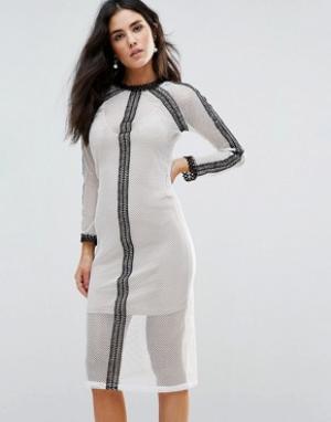 Goldie Сетчатое платье миди с кружевными вставками и комбинацией Vibra. Цвет: кремовый
