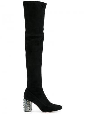 Ботфорты на декорированном каблуке Sebastian. Цвет: чёрный