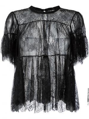 Блузка с оборками Philosophy Di Lorenzo Serafini. Цвет: чёрный