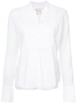 Рубашка с плиссированным нагрудником Greg Lauren. Цвет: белый
