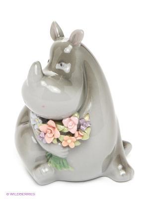 Фигурка Носорог с букетом Pavone. Цвет: серый