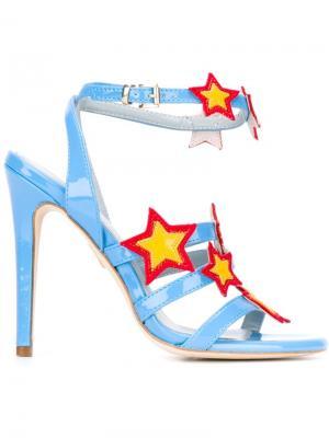 Босоножки с нашивками-звездами Chiara Ferragni. Цвет: синий