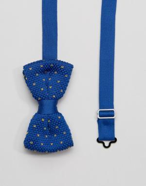 7X Вязаный темно-синий галстук-бабочка в коробочке. Цвет: темно-синий