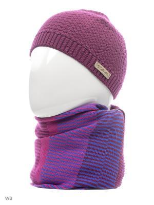 Комлект ( шапка и шарф) Columbia. Цвет: розовый