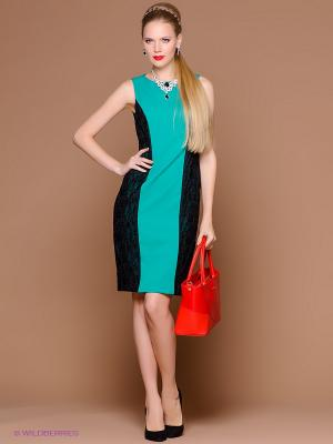 Платье Stets. Цвет: зеленый, черный