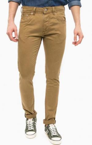 Зауженные коричневые брюки из хлопка ALCOTT. Цвет: коричневый