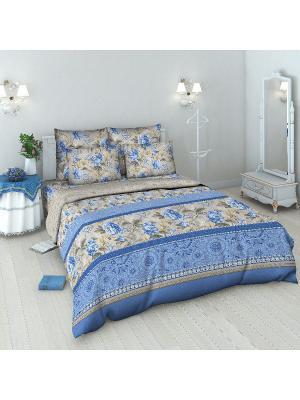 Комплект постельного белья Василиса. Цвет: голубой, серый