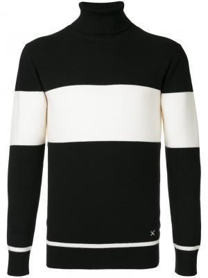 Полосатый свитер с отворотной горловиной Guild Prime. Цвет: чёрный