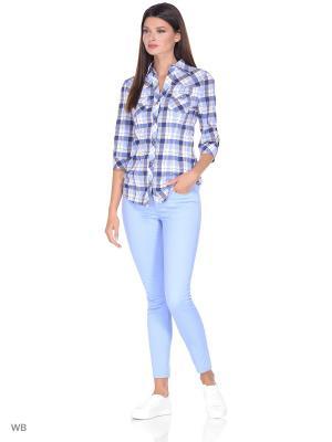 Рубашка RusLana. Цвет: голубой, белый, желтый