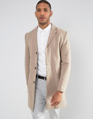 Selected Homme Пальто с добавлением шерсти. Цвет: бежевый