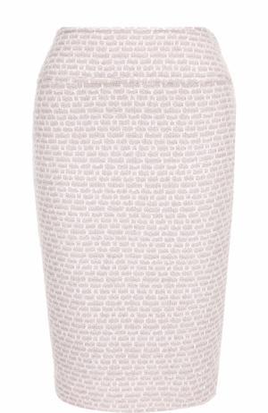 Буклированная юбка-карандаш с разрезом St. John. Цвет: светло-розовый