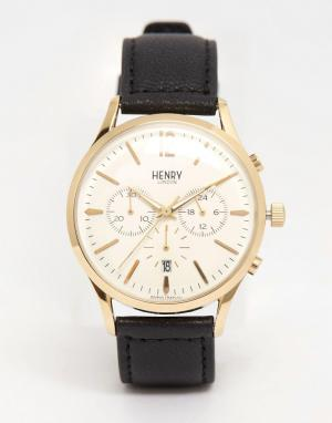 Henry London Часы с хронографом и кожаным решешком Westminster. Цвет: черный