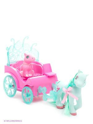 Набор из 2-х пони с каретой Пониландия 1Toy. Цвет: розовый, зеленый