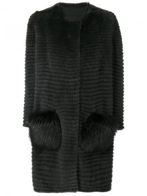 Норковая шуба с лисьим мехом на карманах Liska. Цвет: серый