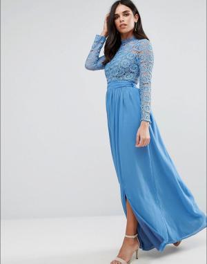 Club L Кружевное платье макси с высокой горловиной. Цвет: серый