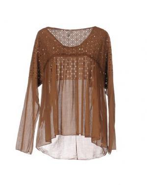 Блузка PLEASE. Цвет: коричневый