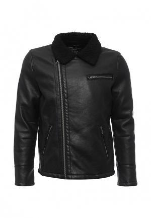 Куртка кожаная MeZaGuz. Цвет: черный