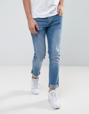 Loyalty & Faith Светлые узкие джинсы с потертой отделкой and. Цвет: синий