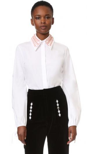 Рубашка с вышивкой и воротником Holly Fulton. Цвет: розовый
