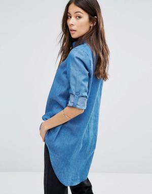 Unique 21 Джинсовая рубашка с удлиненным краем. Цвет: синий