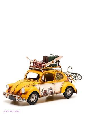 Модель Ретро Автомобиль с фоторамкой и копилкой 6х9см PLATINUM quality. Цвет: желтый