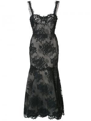Кружевное платье макси Monique Lhuillier. Цвет: чёрный