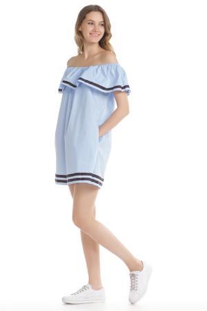 Прямое платье с воланом по горловине HELLO MISS. Цвет: синий