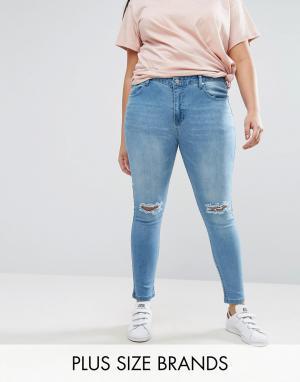Koko Джинсы скинни с рваными коленями Plus. Цвет: синий