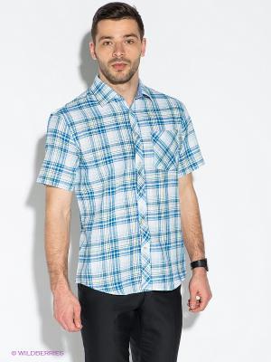 Рубашка Hans Grubber. Цвет: голубой, белый, зеленый