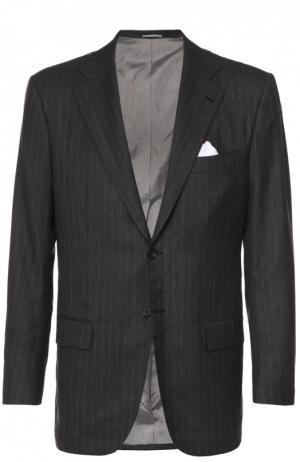 Кашемировый костюм в полоску Kiton. Цвет: темно-серый