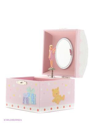 Музыкальная шкатулка с фигуркой в форме купола Jakos. Цвет: розовый, белый, красный, оранжевый, синий