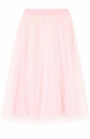 Многоярусная пышная юбка-миди с широким поясом Deha. Цвет: бежевый