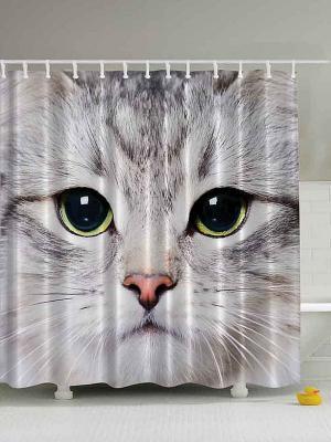 Фотоштора для ванной Милые кошки, 180*200 см Magic Lady. Цвет: серый, белый, салатовый, черный