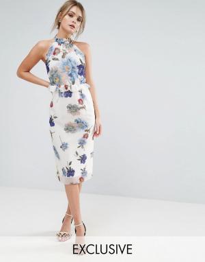 Hope and Ivy Платье миди с высоким воротом и цветочным принтом &. Цвет: мульти