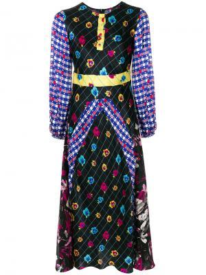 Платье с узором и длинными рукавами Duro Olowu. Цвет: чёрный