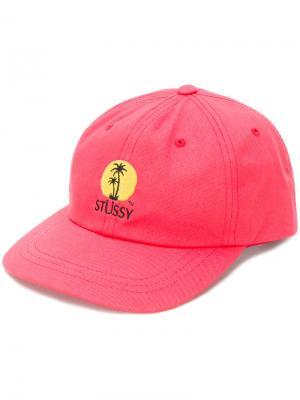 Кепка с принтом пальмы Stussy. Цвет: розовый и фиолетовый
