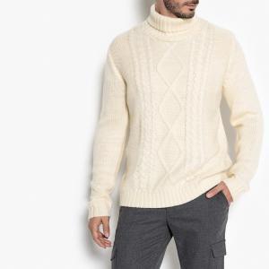 Пуловер-водолазка из плотного трикотажа La Redoute Collections. Цвет: экрю