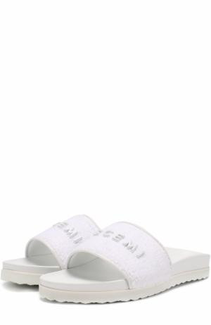 Текстильные шлепанцы с логотипом бренда Buscemi. Цвет: белый