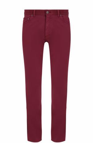 Хлопковые брюки прямого кроя Paul&Shark. Цвет: бордовый