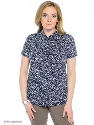 Блузка Finn Flare. Цвет: темно-синий, белый