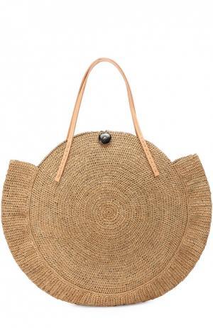 Плетеная сумка Nova из рафии Sans-Arcidet. Цвет: бежевый