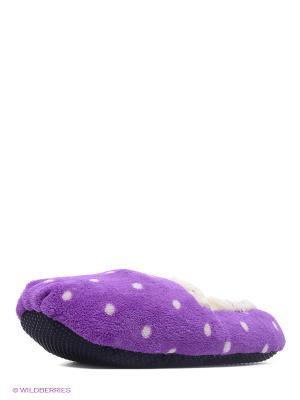 Тапочки-грелки фиолетовые в горох Warmies. Цвет: фиолетовый