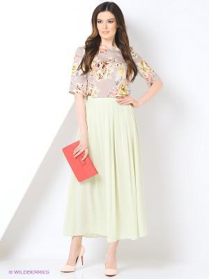 Блузка Femme. Цвет: бежевый, белый, зеленый