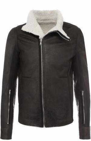 Укороченная дубленка с косой застежкой и воротником-стойкой Rick Owens. Цвет: темно-серый